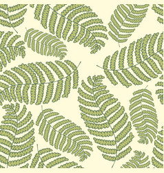 stylized fern on a green background hand drawing vector image vector image