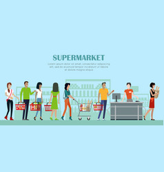 supermarket concept banner in flat style design vector image vector image