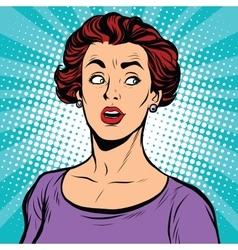 Surprised pop art woman looking sideways vector image