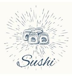 Sushi and vintage sun burst frame vector image