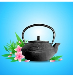Teapot and pink flowers vector