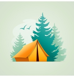 Tent in forest camping vector