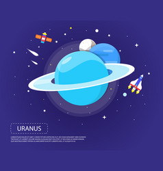 Uranus pluto and neptune of solar system design vector
