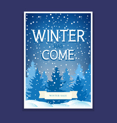 winter flyer with spruces vector image