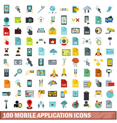 100 mobile application icons set flat style vector