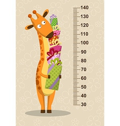 Cartoon giraffe with gifts on a beige background vector
