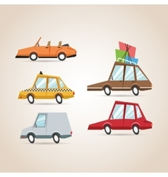 Cars cartoons icon set design vector