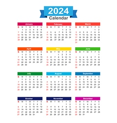 2024 year calendar isolated on white background vector