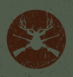 Vintage deer hunter seal vector