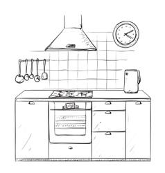 Hand drawn kitchen Furniture sketch vector image