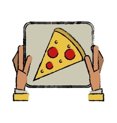 Hand boy delivery box pizza drawing vector