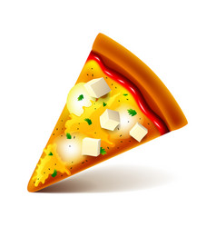 cheese pizza slice isolated on white vector image