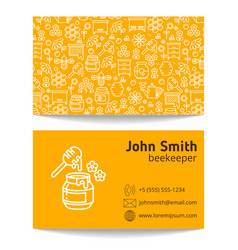 beekeeper apiary business card template vector image