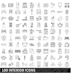 100 interior icons set outline style vector
