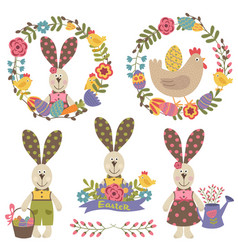 Set happy easter design elements vector