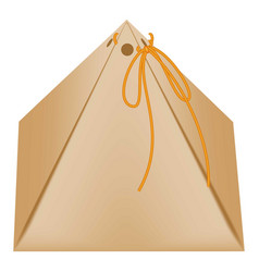 cardboard triangular packaging box icon flat style vector image