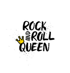 Rock and roll queen lettering vector