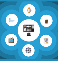 Flat icon oneday set of cappuccino timer watch vector