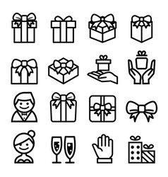 Gift box bow icon set vector