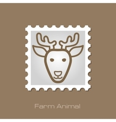Deer stamp animal head vector