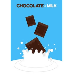 Pieces of chocolate fall in milk splash of milk on vector