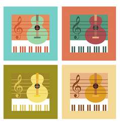 Assembly flat icons music lesson vector