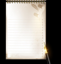 Beige page of notepad and pen vector