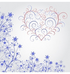 Blue grunge flower with heart vector image vector image