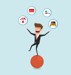 businessman balancing on sphere and juggling vector image vector image
