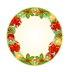 Button circular Christmas Spruce with red ribbons vector image