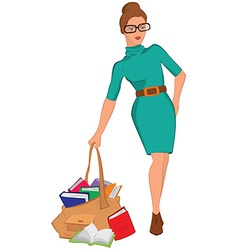 Cartoon young woman holding big bag full of books vector image