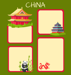 China poster with empty spaces and oriental signs vector