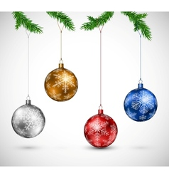 Christmas balls hanging vector image vector image