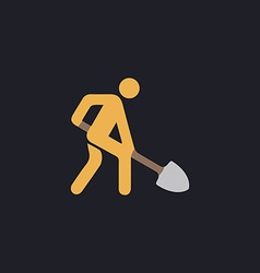 Digging man of animation throwing the ground ahead vector