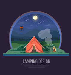 flat style design of mountains and camping tent vector image