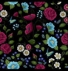 Floral embroidery seamless pattern vector