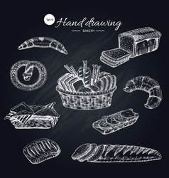 flour products hand drawn collection vector image vector image
