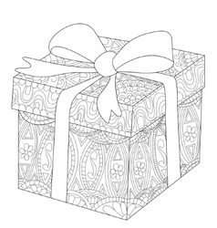 Gift box with bow coloring for adults vector