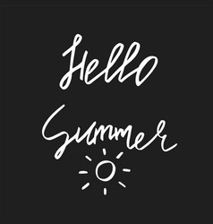 Hello summer - hand drawn brush text handdrawn vector