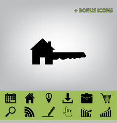 Home key sign black icon at gray vector