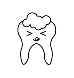 Human tooth with toothpaste kawaii character vector