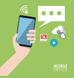 light green poster mobile device with hand holding vector image vector image