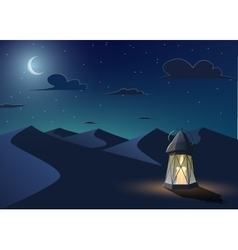 Luminous lantern stands in the desert vector image