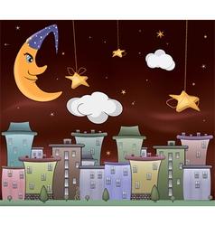 Night city cartoon vector