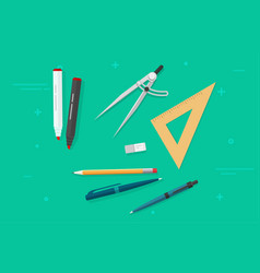 Pen pencils eraser triangle rulers marker vector