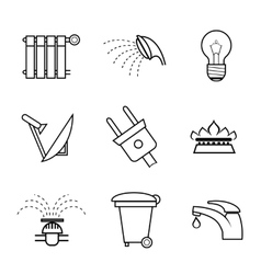 Public service and utilities icons vector image