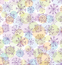 Seamless pattern with purple snowflakes on light vector image