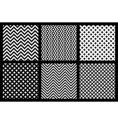 Set of 6 monochrome elegant seamless patterns vector image vector image