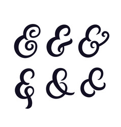 Set of hand written ampersands vector