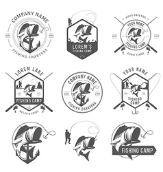 Set of vintage fishing labels and badges vector image